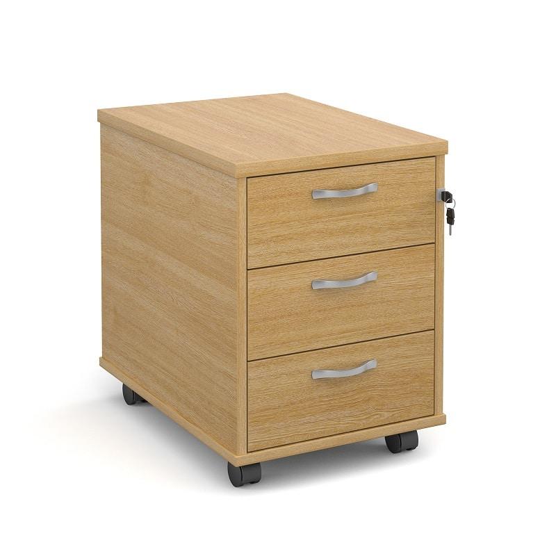 Ready Built 3 Drawer Wood Desk Under Desk Mobile Pedestal