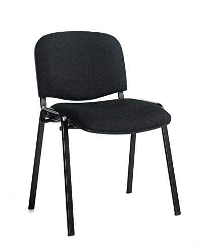 Box of 4 Taurus Fabric Stacking Meeting Chairs Charcoal