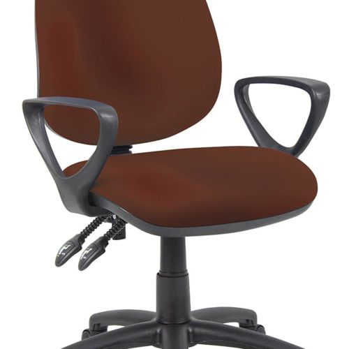 Fabric Operator seating - 2 Lever Operator Chair - Fixed Arms - Burgundy (V101-00-BU) H995xW1125xD590