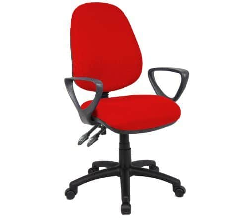 Vantage Chair 2 Lever With Fixed Arms By Ready Office - Height: 895-1005 MM; Width: 480 MM; Depth: 605 MM - Color: Red